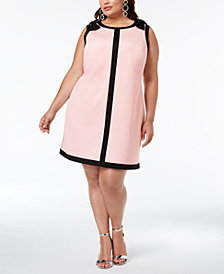 Betsey Johnson Plus Size Bow-Trim A-Line Dress