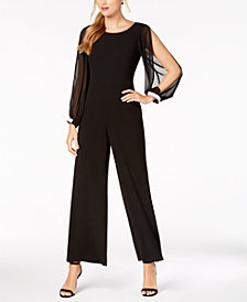 Connected Embellished Illusion Wide-Leg Jumpsuit