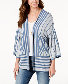 Style & Co Cotton Printed Drop-Sleeve Cardigan, Created for Macy's