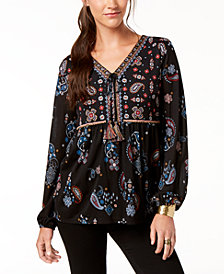 Style & Co Petite High-Low Peasant Top, Created for Macy's