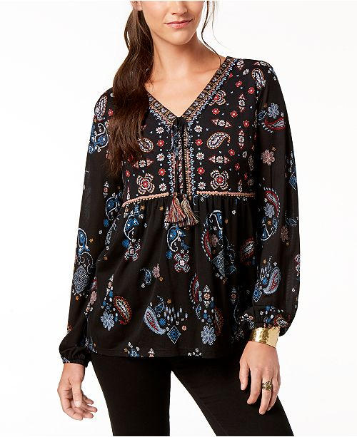 for Created Macy's amp; Flare Sleeve Co Style Glow Top Printed Paisley 71ZOqg