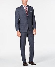 Club Room Men's Classic/Regular Fit Stretch Medium Blue Windowpane Suit, Created for Macy's