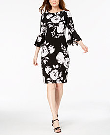Calvin Klein Graphic Floral Bell-Sleeve Sheath Dress
