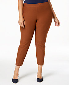 Eileen Fisher Plus Size Washable Crepe Slim Ankle Pants