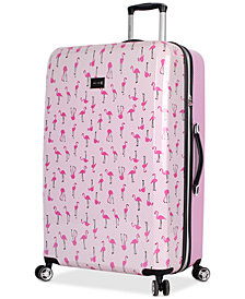 "Betsey Johnson Flamingo Strut 30"" Hardside Spinner Suitcase"