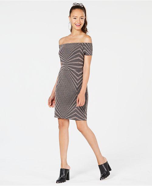 e410010cf17f City Studios Juniors  Metallic Off-The-Shoulder Bodycon Dress ...