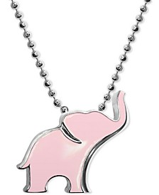"Pink Enamel Elephant 16"" Pendant Necklace in Sterling Silver"