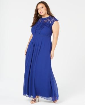 City Chic Trendy Plus Size Lace Trim Maxi Dress In Lagoon Modesens