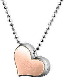 "Alex Woo Two-Tone Fusion Heart 16"" Pendant Necklace in Sterling Silver  & 18k Rose Gold"