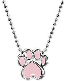 "Pink Enamel Activist Paw Print 16"" Pendant Necklace in Sterling Silver"
