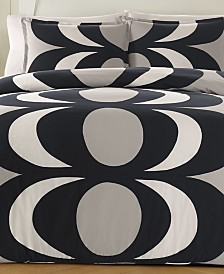 Marimekko Kaivo Cotton 200-Thread Count 3-Pc. Gray Full/Queen Duvet Cover Set