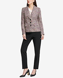 DKNY Tweed Blazer, Cowl-Neck Shell & Skinny Pants, Created for Macy's