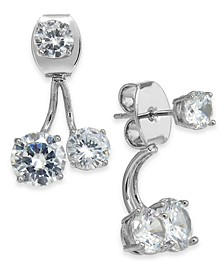 INC Silver-Tone Crystal Front-and-Back Earrings, Created for Macy's