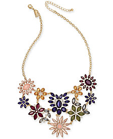 "I.N.C. Gold-Tone Multi-Stone Flower Statement Necklace, 18"" + 3"" extender, Created for Macy's"