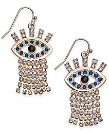 Thalia Sodi Gold-Tone Evil-Eye Glitter Drop Earrings, Created for Macy's