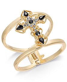 Thalia Sodi Gold-Tone Stone Cross Wide Cuff Bracelet, Created for Macy's