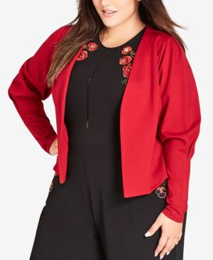 CITY CHIC Trendy Plus Size Open-Front Jacket in Flame