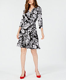 I.N.C. Printed 3/4-Sleeve Wrap Dress, Created for Macy's
