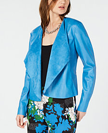 I.N.C. Draped Front Faux-Leather Jacket, Created for Macy's