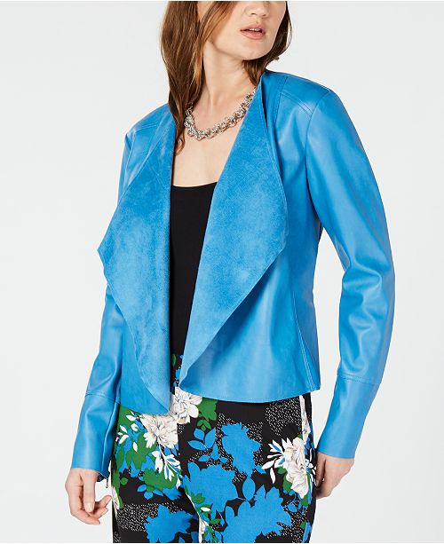 Concepts Leather Jacket International C Macy's Lyric Blue Created Front I N for INC Faux Draped 5H8qCw