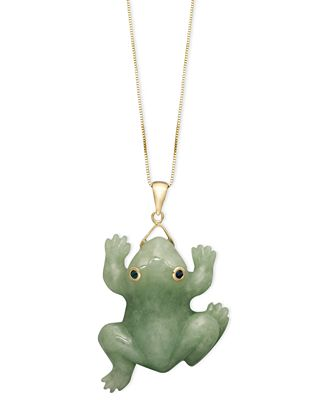 14k gold necklace jade carved frog pendant necklaces jewelry 14k gold necklace jade carved frog pendant mozeypictures Image collections