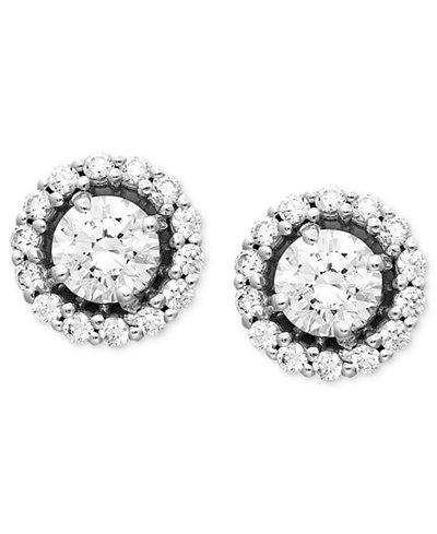Arabella 14k White Gold Earrings Swarovski Zirconia Round Pave Stud 2 7