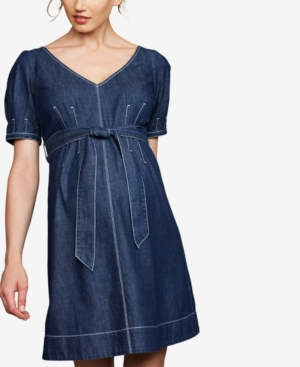 Image of A Pea In The Pod Maternity Cotton Denim Dress