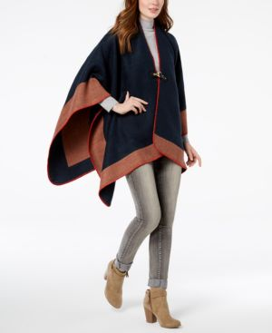 Image of Vince Camuto Whipstitched Chevron Poncho