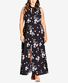 City Chic Trendy Plus Size Tie-Neck Maxi Dress