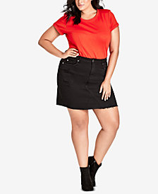 City Chic Trendy Plus Size Fray-Hem Mini Skirt