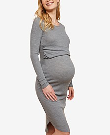 Long Sleeve Twist Front Maternity Dress