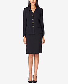 Tahari ASL Reverse-Pleat Skirt Suit