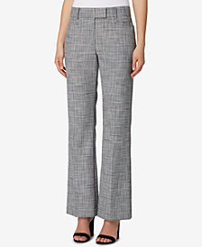 Tahari ASL Textured Plaid Straight-Leg Pants