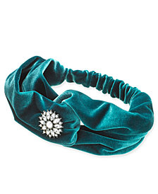 I.N.C. Silver-Tone Crystal & Imitation Pearl Flower Velvet Turban Headband, Created for Macy's