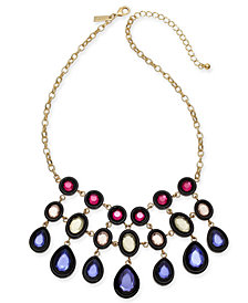 "I.N.C. Gold-Tone Multi-Stone Statement Necklace, 17"" + 3"" extender, Created for Macy's"