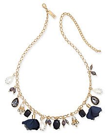 "I.N.C. Gold-Tone Multi-Charm Collar Necklace, 16"" + 3"" extender, Created for Macy's"