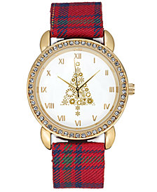 Charter Club Women's Gold-Tone Plaid Strap Watch 34mm, Created for Macy's