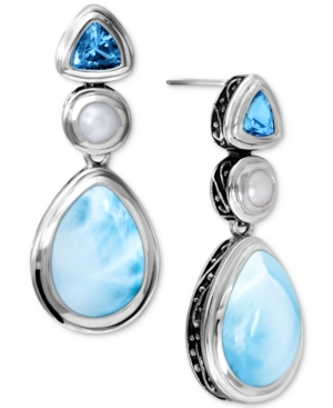 Marahlago Multi-Stone Drop Earrings in Sterling Silver