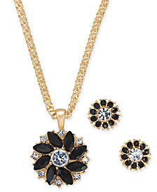 "Charter Club Gold-Tone Crystal and Stone Flower Pendant Necklace & Stud Earrings Set, 17"" + 2"" extender, Created for Macy's"