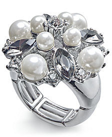 Charter Club Silver-Tone Crystal & Imitation Pearl Cluster Stretch Ring, Created for Macy's