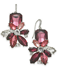 Charter Club Silver-Tone Crystal & Stone Flower Drop Earrings, Created for Macy's