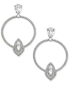 Silver-Tone Crystal Circle Drop Earrings, Created for Macy's