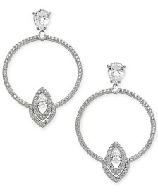 Eliot Danori Silver-Tone Crystal Circle Drop Earrings, Created for Macy's