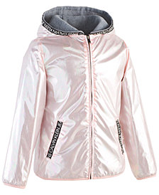 Calvin Klein Toddler Girls Hooded Metallic Logo Jacket