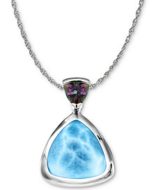 """Marahlago Larimar & Mystic Topaz (1/10 ct. t.w.) 21"""" Pendant Necklace in Sterling Silver"""