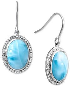 Larimar & White Sapphire (3/8 ct. t.w.) Oval Drop Earrings in Sterling Silver