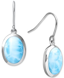 Marahlago Larimar Drop Earrings in Sterling Silver