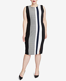 RACHEL Rachel Roy Trendy Plus Size Mixed-Print Sheath Dress