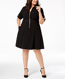 MICHAEL Michael Kors Plus Size Zip-Front Shirt Dress