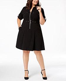 MICHAEL Michael Kors Plus Size Zip-Front Shirt Dress